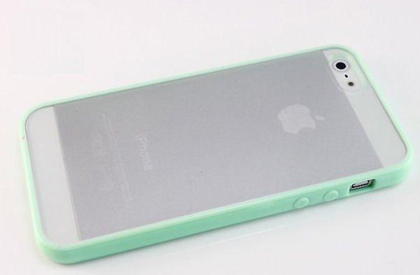 iPhone 5/5S Mat transparent bumpercover. Mint grøn.