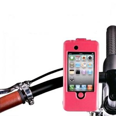 Vandtæt cykelholder / styrholder til iPhone 4 / 4S. Pink.