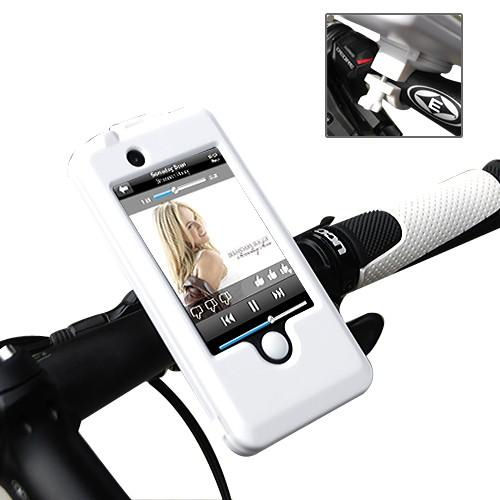 Vandtæt cykelholder / styrholder til iPhone 4 / 4S. Hvid.