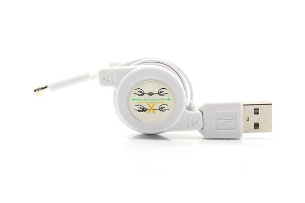 USB kabel med smart ledningsoprul til iPhone 5/5S/5C/6/6+. Hvid