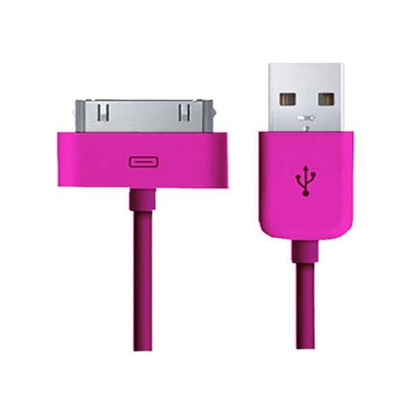 USB Data-/ladekabel til iPhone, iPad, iPod mm. 1 meter. Hot pink