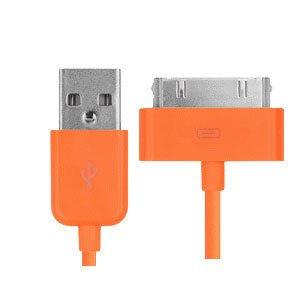 USB Data-/ladekabel til iPhone, iPad, iPod mm. 1 meter. Orange.
