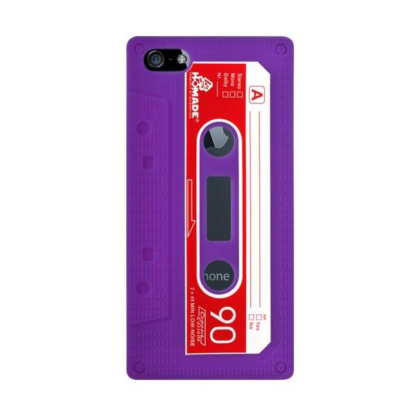 iPhone 5/5S/SE Retro Cover. Silikone kassettebånd. Lilla.