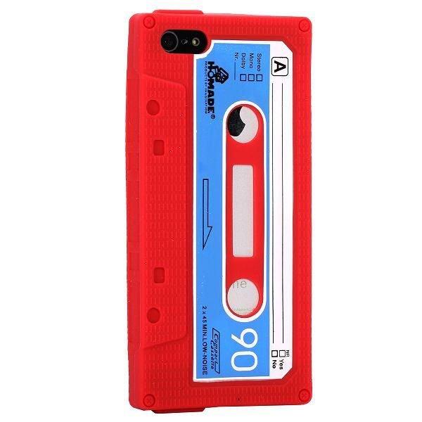 iPhone 5/5S/SE Retro Cover. Silikone kassettebånd. Rød.