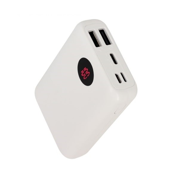 Smart lille powerbank med praktisk LED display. 10.000mAh. Hvid.