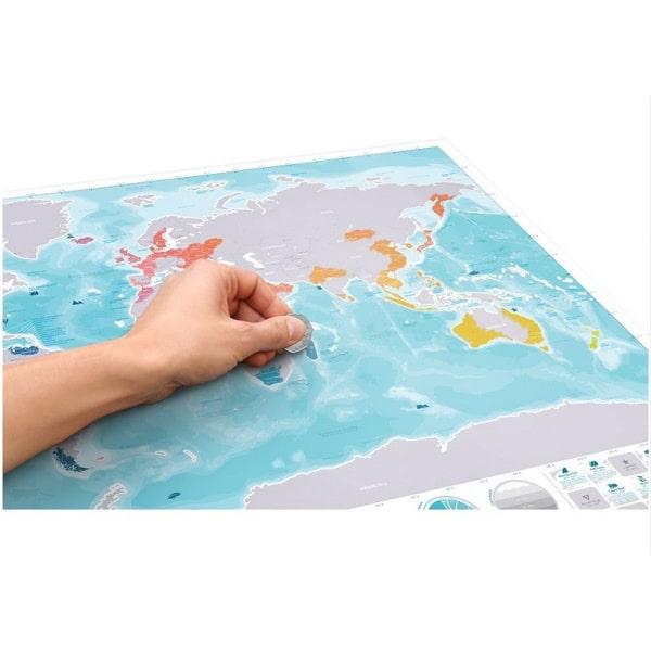 Scratch Map Oceans Verdenskort med skrabefelter.
