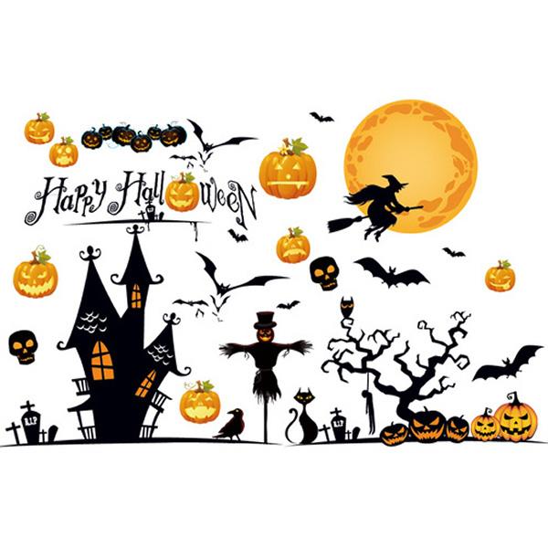 Halloween wallsticker. Hekse, græskar & uhygge. 90x60cm.