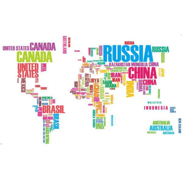 Verdenskort wallsticker med landenavne i farver. 122x74cm